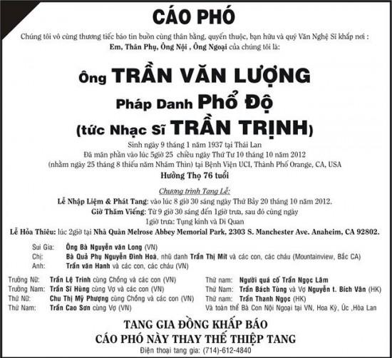 Cáo phó NS Trần Trịnh