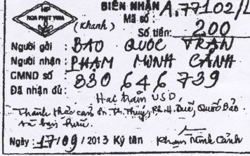 Giấy biên nhận của nhạc sĩ Phạm Minh Cảnh viết đã lãnh quà 200$ do ca sĩ Thanh Thúy, Phương Hồng Quế, Trần Quốc Bảo, Đạt Đoàn gửi về