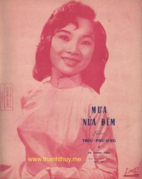 """Ảnh Thanh Thúy trên bìa bản nhạc """"Mưa nửa đêm"""""""