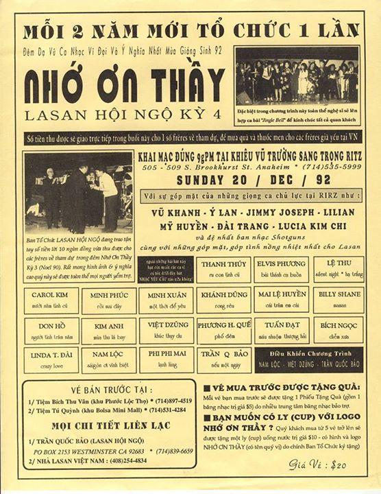 Cứ mỗi 2 năm một lần, TQB (Lasan Mossard) và các bạn Lasan thực hiện đêm nhạc Nhớ Ơn Thầy gây quỹ gửi về cho các frères già yếu đang sống ở quê nhà. Chương trình tổ chức được 4 kỳ: Kỳ 1 (1986), kỳ 2 (1988), kỳ 3 (1990) và kỳ 4 (1992). Mỗi kỳ đều có sự giúp đỡ nhiệt tình của Việt Dzũng (Lasan Taberd) và anh Ngọc Chánh chủ nhân vũ trường Ritz là học sinh Lasan Đức Minh.