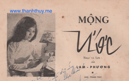 """Ảnh Thanh Thúy, trang trong của bản nhạc """"Mộng Ước"""" của Lam Phương"""