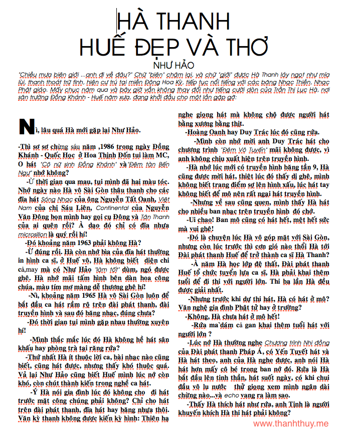 Ha Thanh, Hue dep va tho 1