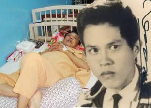Ảnh phải Vinh Sử thời trai trẻ huy hoàng và hình trái lúc anh nằm trên giường bệnh chống chọi với cơn bệnh ung thư ruột già