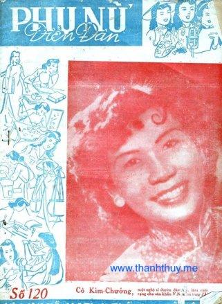Hình bìa nghệ sĩ Kim Chưởng trên tạp chí Phụ Nữ Diễn Đàn số 120 phát hành ngày 1 tháng 6 năm 1957 (ảnh tài liệu của Trần Quốc Bảo)