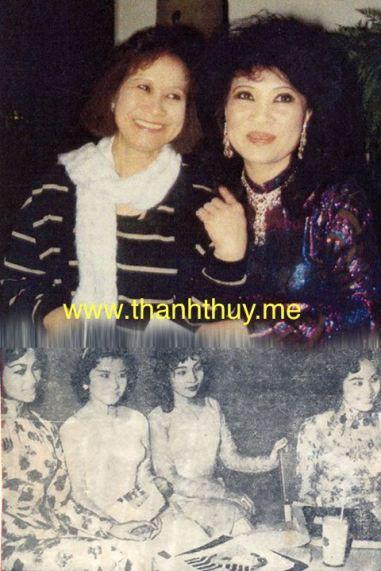 Ảnh trên là Thùy Hương, Thanh Thúy hội ngộ nhau năm 1986 tại Club Rex sau hơn 20 năm mới gặp lại nhau. Ảnh dưới từ trái sang phải là các ca sĩ Thái Xuân, Thùy Hương, Thanh Thúy, Thu Hương chụp tại một phòng trà năm 1960