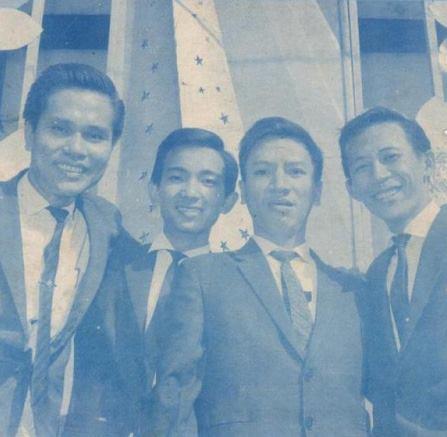 Ảnh ban nhạc Khánh Băng – Phùng Trọng từ trái sang phải: Khánh Băng (guitar) – Duy Khiêm (bass), Phùng Trọng (trống), Nguyễn Ánh 9 (Piano) chụp khoảng năm 1966-1967