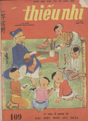 """Bìa báo Thiếu Nhi với bức tranh Ông Đồ của họa sĩ Vi Vi nhân kỷ niệm lễ Khổng Tử """"Đặc biệt nhớ ơn thầy"""""""