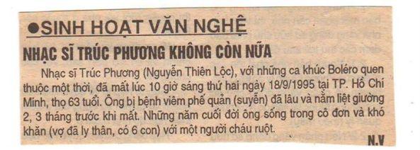Một tài năng lớn của âm nhạc Việt Nam nhưng khi mất đi chỉ được đăng vỏn vẹn vài giòng trên một tờ nhật báo ở Saigon