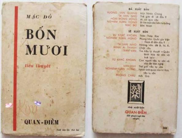 Bìa tiểu thuyết Bốn Mươi của Mặc Đỗ, Nxb Quan Điểm, Sài Gòn 1957.
