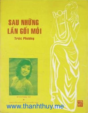 """Ảnh Thanh Thúy trên bìa bản nhạc """"Sau những lền gối mõi"""""""