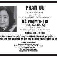 Phu nhân ca sĩ Thanh Phong (Tam Ca Sao Băng) từ trần (Trần Quốc Bảo)