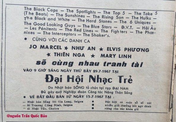 Quảng cáo Đại Hội Nhạc Trẻ do nhật báo Sống tổ chức tháng 7 năm 1967
