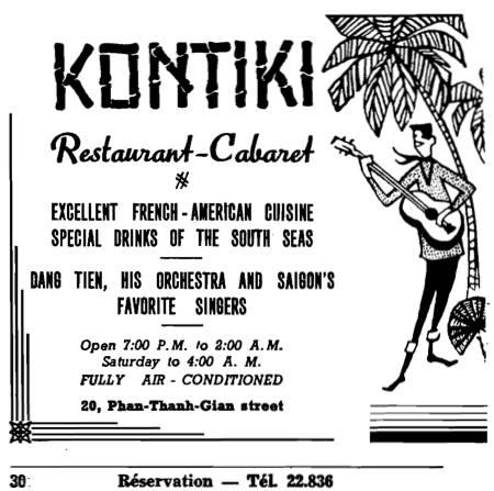 Quảng cáo nhà hàng ca nhạc Kontiki trên đường Phan Thanh Giản năm 1964