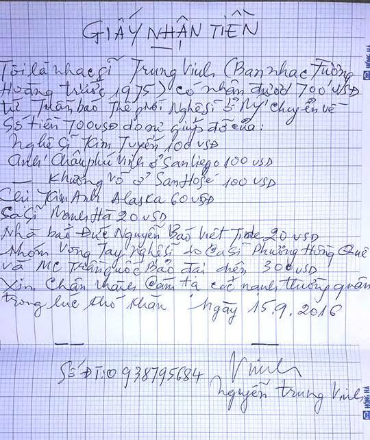Biên nhận với chữ viết của nhạc sĩ Trung Vinh đã nhận 700$ từ các thân hữu từ Mỹ gửi về