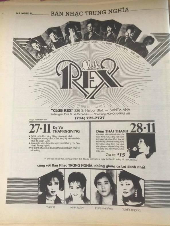 Đây là Quảng Cáo vũ trường Rex tháng 11 năm 1986 thời gian khai trương, anh Bạch chủ nhân mời cho bằng được nữ danh ca Thái Thanh.