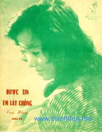 """Ảnh Thanh Thúy trên bìa bản nhạc """"Được tin em lấy chồng"""""""