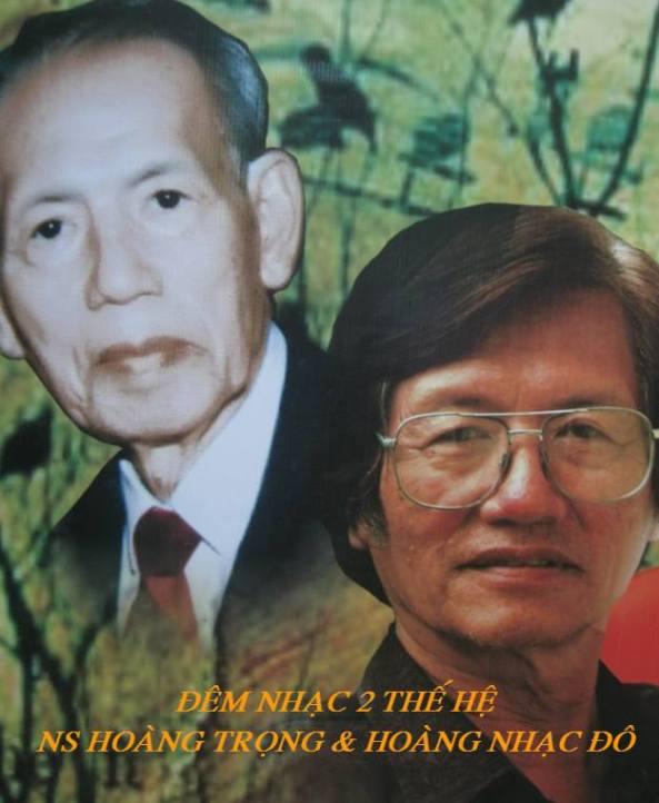 Nhạc sĩ Hoàng Trọng Đô (phải) và thân phụ Hoàng Trọng